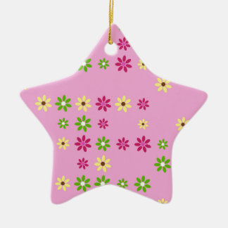 Pink Flower Confetti Ceramic Ornament