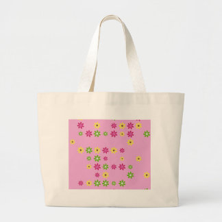 Pink Flower Confetti Large Tote Bag