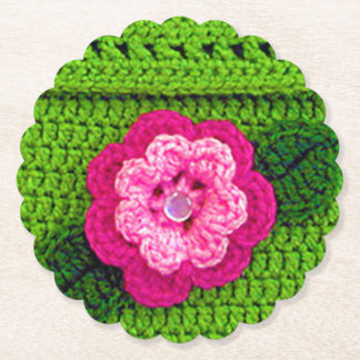 Pink Flower Crochet Print Reusable Round Scallop Paper Coaster