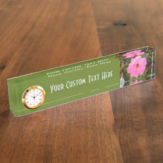 Pink Flower custom desk name plate
