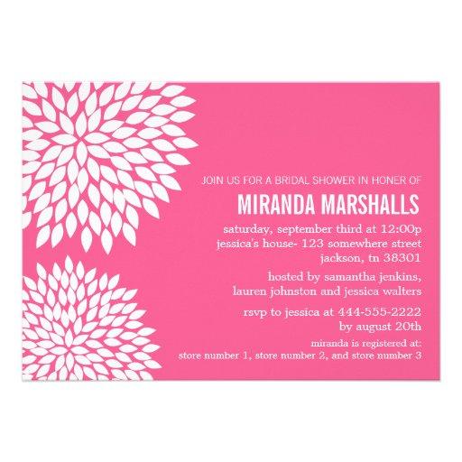 Pink Flower Design Bridal Shower Invitations