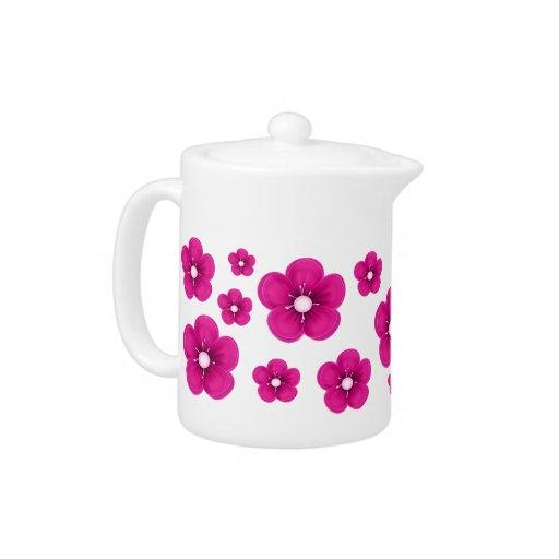 Pink Flower Design Teapot
