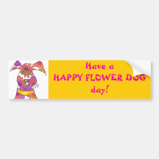 Pink Flower Dog Bumper Sticker