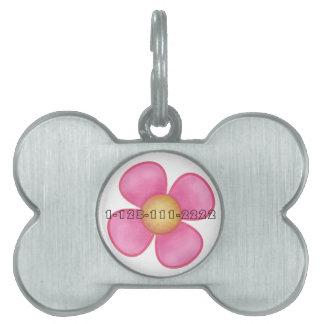 PINK FLOWER DOG NAME TAG