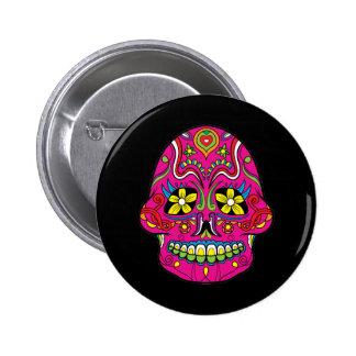 Pink Flower Eyes Mexican Sugar Skull 2 Inch Round Button