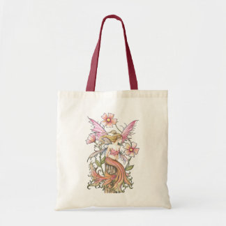 Pink Flower Fairy Budget Tote Bag, Grocery Budget Tote Bag
