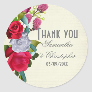 Pink flower floral wedding thank you classic round sticker