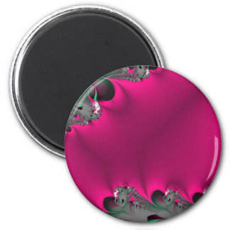 pink flower fractal 6 cm round magnet