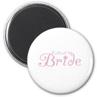 Pink Flower Future Bride 6 Cm Round Magnet