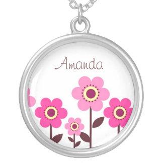 Pink flower garden necklace