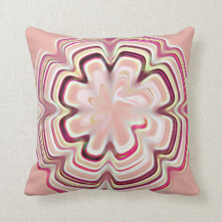 Pink Flower Geometric Pattern Throw Pillow
