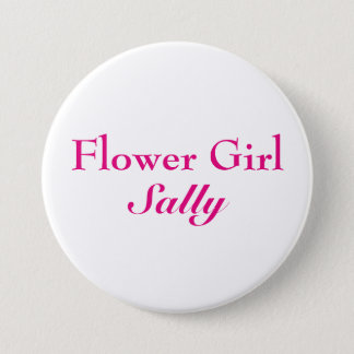 Pink Flower Girl Button