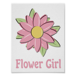 Pink Flower Girl Posters