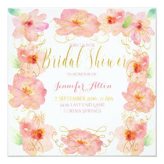 Pink Flower gold swirl - Bridal shower Card