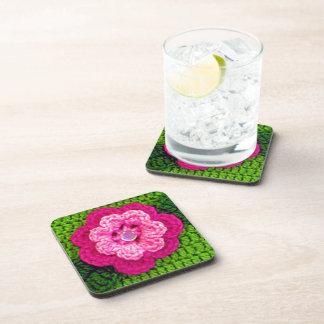 Pink Flower Green Crochet Print on Set of 6 Hard Coaster