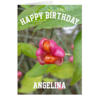 Pink Flower Happy Birthday Card Custom Name