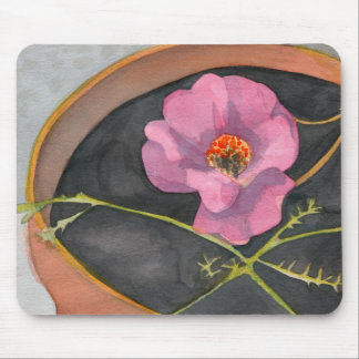 Pink Flower in Terra Cotta Pot Mousepad