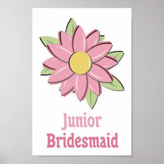 Pink Flower Junior Bridesmaid Poster