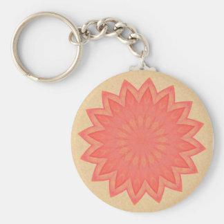 Pink Flower Kaleidoscope Basic Round Button Key Ring