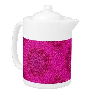 Pink Flower  Kaleidoscope Pattern   Teapots