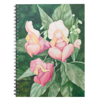Pink flower ladies sleeping spiral notebook