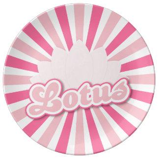 Pink Flower Lotus Porcelain Plate