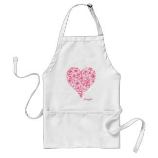 Pink Flower Love Heart Apron