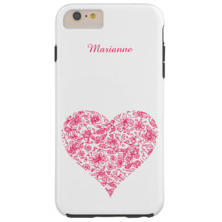 Pink Flower Love Heart iPhone 6 Plus Case