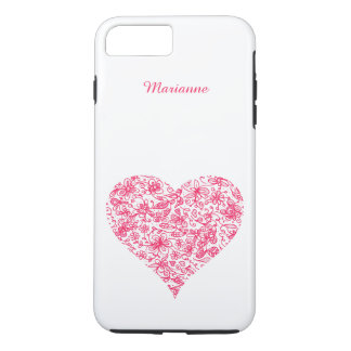 Pink Flower Love Heart iPhone 7 Plus Case