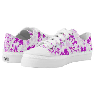 Pink Flower Low Top Printed Shoes