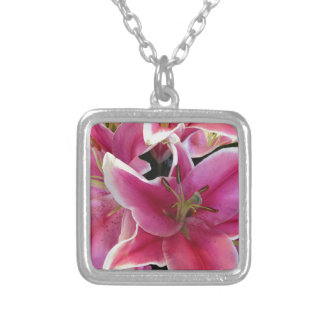 Pink flower magic square pendant necklace