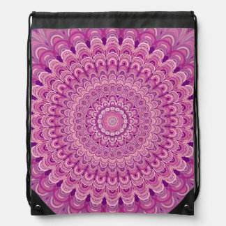 Pink flower mandala drawstring bag