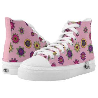 Pink Flower Mandala Hi-Top Sneakers