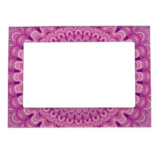 Pink flower mandala magnetic picture frame
