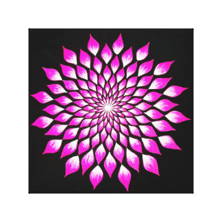 Pink Flower Mandala on Black Wrapped Canvas