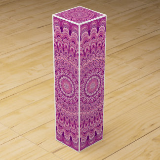 Pink flower mandala wine box