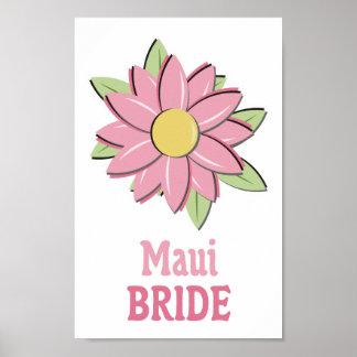 Pink Flower Maui Bride Print