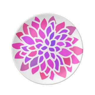 Pink Flower Modern Colorful Plate