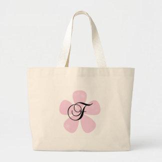 Pink Flower Monogram F Tote Bag