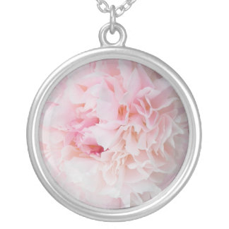 Pink flower round pendant necklace