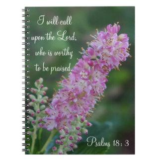Pink Flower Notebook with KJV Scripture
