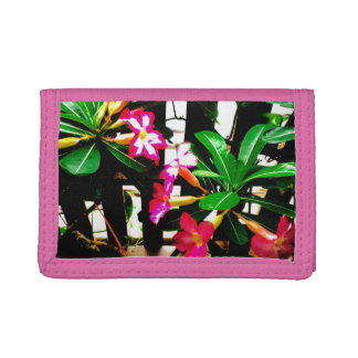 pink flower nylon wallet