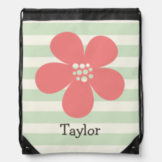 Pink Flower on Pastel Green Stripes Drawstring Bag