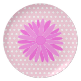Pink Flower on Polka Dots. Party Plates