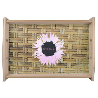 Pink flower on Rattan Serving Tray