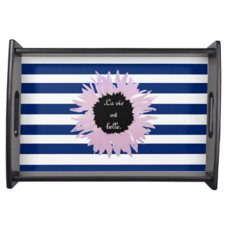 Pink Flower on Stripe Serving Tray