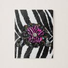 Pink Flower on Zebra Jigsaw Puzzle