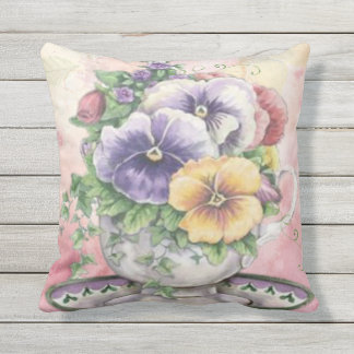 pink flower pansy teacup  outdoor or indoor outdoor cushion