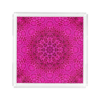 Pink Flower Pattern   Acrylic Trays