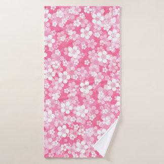 Pink Flower Pattern Bath Towel